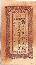 100 CASH 1932 SINKIANG FINANCE DEPARTMENT TREASURY RARE BANK NOTE