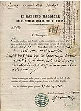 Ancient Jewish manuscript Italy. Duckedom of Modena and Parma. 1856. Death certificate with signature of Chief Rabin David Zechut Modena.