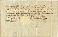 Germany. Bamberg. 1794. Ancient latin manuscript. Baptism document. A fine paper dry seal in the bottom. Very rare.