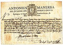 Italy. Benevento. 1751. Ancient manuscript headed with the name of the Archbishop Antonio Manerba. In the bottom dry seal of the Archbishop