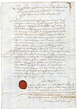 Ancient manuscript 1790 Italy Naples Ancient Military discharge manuscript of Two Sicily Kingdom. With signature of the lieutenant general Baron Antonio de Salise. Rare