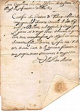 Ancient manuscript. Death certificate 1750 Italy. Two Sicily kingdom