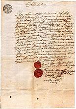 Ancient manuscript 1776. Vienna (Austria). Wedding certificate with sealing wax. Very rare