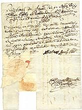 Ancient document manuscript Kingdom of Naples. 1764. Military license with the signature of Lieutenant General of Lonardo De Tschoudy, Commander of the Swiss Guard. A fine paper dry seal. Very rare