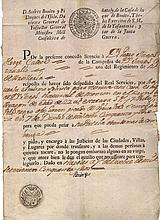 Ancient manuscript  Naples. 1757 Italy. Two Sicily kingdom with the signature of Andrea Bonito, Lieutenant General of the 2 Sicily kingdom and Minister of the war.