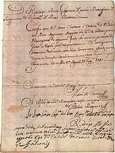 Italy. Two Sicily kingdom. Naples. 1741. Death certificate of Gabriel Piano during the travel between Gaeta- Naples. Original military manuscript with the signature of Rodrigo Mesia, Captain of infantry of 2 Sicily kingdom