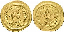 Justinian I. 527-565 AD. AV Tremissis. Mint of Constantinople. O:\ D N IVSTINIANVS P P AVI. Diademed, draped and cuirassed bust right. Gold Byzantine coin
