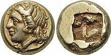IONIA PHOKAIA 478-387 BC. EL Hekte. ANCIENT GREEK GOLD COIN RARE O:\ Head of Io left; seal below. R:\ Quadripartite incuse square