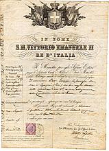 Kingdom of Italy. 1875. Ancient passport during the reign of Vittorio Emanuele II of Savoia. With revenue for passport of 10 Lire. In the back stamp passage by France