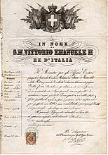 Kingdom of Italy. 1871. Under the Reign of Vittorio Emanuele II. With revenue for passport of 2 Lire