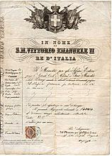Kingdom of Italy. 1873. Under the Reign of Vittorio Emanuele II. With revenue for passport of 2 Lire