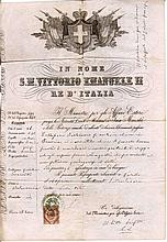 Kingdom of Italy. 1872. Under the Reign of Vittorio Emanuele II. With revenue for passport of 2 Lire