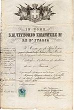 Kingdom of Italy. 1874. Under the Reign of Vittorio Emanuele II. With revenue for passport of 2 Lire