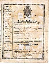 Two Sicily kingdoms. 1841. Ancient passport. Destination: Montichiari (Territories under Austro Hungarian Empire)