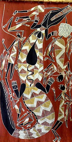 SAMUEL NAMUNDJA (1965 - ), Original Natural Ochres on Bark, Title: Crocodile Dreaming, Artist Details Verso, Titled Verso, Catalogue Number Verso: AHI2803, Provenance: Under Instructions from Major ASX Top 20 Australian Company, (Asset No: T1041146)