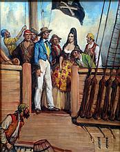 Raymond Lindsay (1904 - 1960), Pirate Scene, Oil on canvas