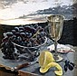 JANET GREEN (1942 - ), Original Acrylic Painting on Board, Title:  Still Life with Grapes and Lemon - Sunrise Over Polkolbin, Provenance:    Purchased From Painters Gallery Sydney