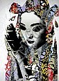 HUSH (UK), Limited Edition 9 Colour Screenprint Hand Finished with Acrylic Paint, Spray Paint, Tea on Somerset Velvet, 2011, Title:  Unmasked Geisha, Signed Lower Right, Editioned Lower Right:  53/133