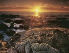 Nick Rodionoff-Sunset Over Rocks Photography on canvas