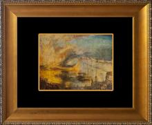 Turner Color Plate Lithograph The Burning Houses of Parliament from 1957