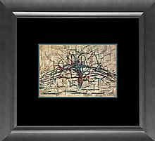 Pete Mondrian Color Plate Lithograph Horizontal Tree from 1957