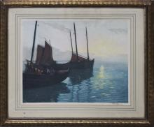 Original Watercolor Moored Boats