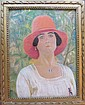 LALAURIE Marcel . Jeune femme au chapeau rouge