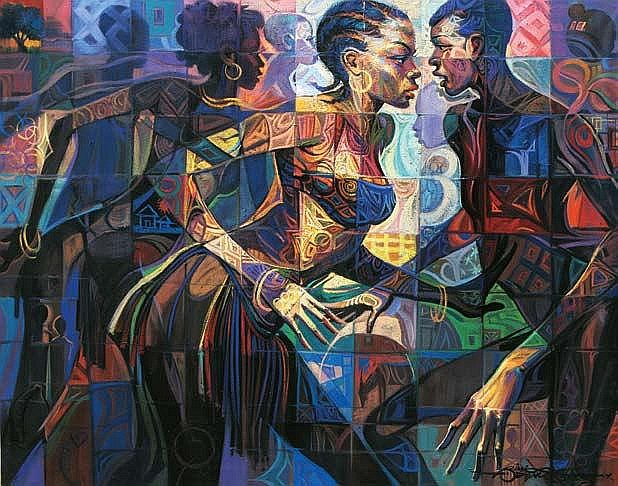 BIMBO ADENUGBA (b. 1968) MOONLIGHT DANCE 2012 Oil