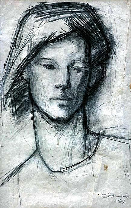 BEN OSAWE (1931-2007) UNTITLED 1963 Charcoal on