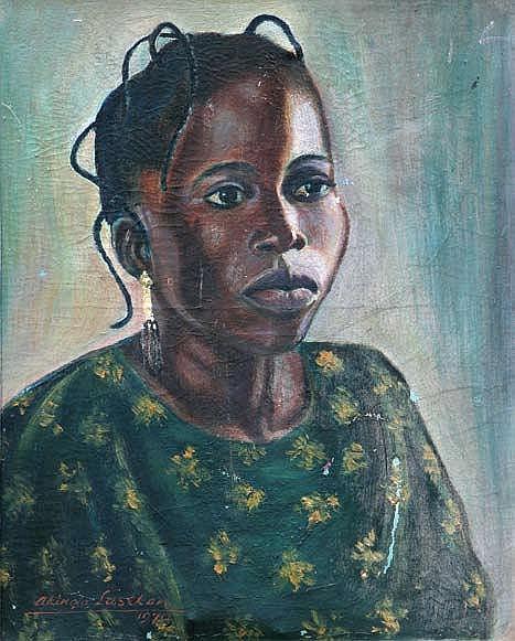 AKINOLA LASEKAN (1916-1972) PORTRAIT OF A LADY