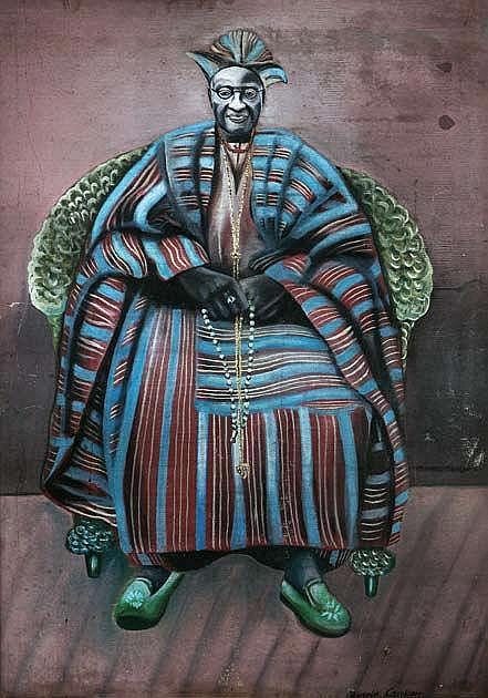 AKINOLA LASEKAN (1916-1972) PORTRAIT OF A MAN 1956