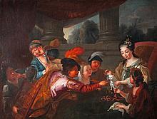 École française du XVIIIe siècle, atelier de COURTIN.    La toilette du chatToile.