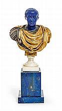 Buste de l'empereur Claude.    Sculpture en bronze doré, lapis-lazuli, scagliole et marbre blanc.