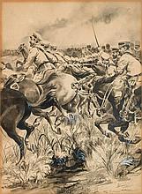 École RUSSE du XXe siècle.    Choc de cavalerie.