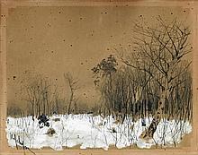 École RUSSE du début du XXe siècle.    Paysage sous la neige.
