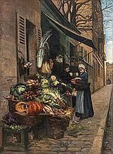 Chez le primeur.    Huile sur toile signée et datée 1888 en bas à droite.