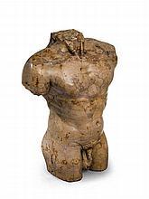 Buste masculin d'après l'antique en pierre de marbre veiné ocre.    XXe siècle.