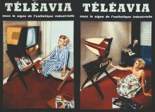 Lot de 2 Carton Publiictaires Téléavia vers 1960