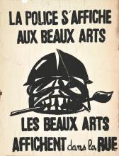 La Police s'affiche aux Beaux Arts - Rare Affiiche décolée du mur en 1968 1968