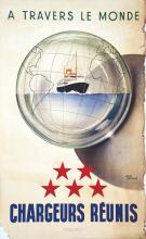 Lot de 6 Affiches : Chargeurs Réunis A travers le Monde vers 1950