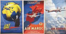 Lot de 3 affiches : UAT & Air Maroc & Air Algérie vers 1950