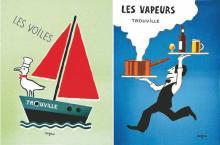 Les Vapeurs / Les Voiles lot de 2 Affiches entoilées de Savignac vers 1970