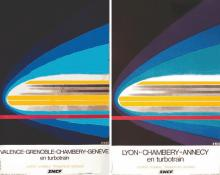 Lyon - Chambery - Annecy / Valence Grenoble - Chambery - Genève Lot de 2 Affiches 1975