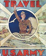 WOODBURM TOM, Travel Us Army vers 1917 Affiche entoilée/ Poster on Linnen B