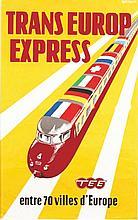 RODRIGO., Transeurop express entre 70 villes d'Europe Vers 1950 Affiche ent