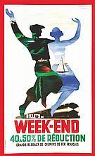 MARTON, Billets de Week End 1936 Alliance Graphique Paris, Affiche entoilée