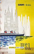 KOWAL P. LEON, USL Europe USA vers 1950 W.R. Royle & Son Ltd, 1 Affiche Non