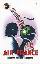 VINCI, Air France Réseau Aérien Mondial 1937 Alépée & Cie Paris, Affiche en