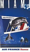 HCM, Miami - Air France vers 1980 Ets. Saint Martin Asnières, 1 Affiche Non