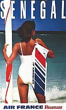HCM, Sénégal Air France Vers 1980 Ets. Saint Martin Asnières, Affiche entoi
